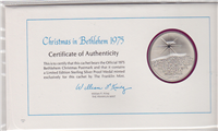 The Annual Christmas in Bethlehem Commemorative Medal and First Day Cover  (Franklin Mint)