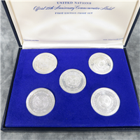 United Nations Official 25th Anniversary Commemorative Medal 5 Coin Set (Franklin Mint, 1970)