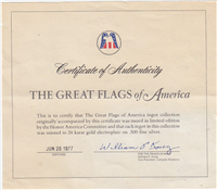 Great Flags of America Ingots Collection (Franklin Mint, Gold-Plated, 42 ingots, 1977)