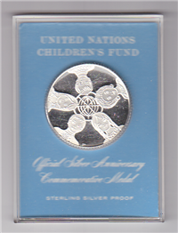The United Nations Children's Fund Official Silver Anniversary Commemorative Medal   (Franklin Mint, 1971)
