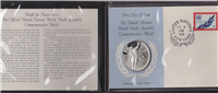 Franklin Mint  United Nations World Youth Assembly Commemorative Medal and First Day Cover (Sterling)