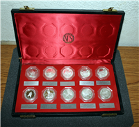 National Commemorative Society Set of Ten Medals in Black Display Case   (Franklin Mint)