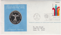 The Official United Nations Commemorative Medal and First Day Cover    (Franklin Mint)