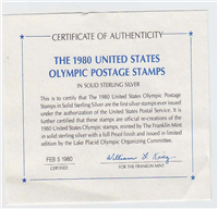 The United States Olympic Postage Stamps in Solid Sterling Silver    (Franklin Mint, 1980)