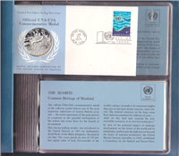 Franklin Mint  United Nations Official 1971 United Nations UNA-USA Commemorative Medal and First Day Covers Set of 6