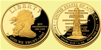 USA 2007 W Thomas Jefferson's Lady Liberty 3rd Presidency $10 Gold Coin from First Spouse Series