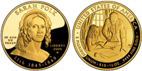 USA 2009 W Sarah Polk $10 Gold Coin from First Spouse Series