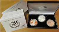 USA 2006 20th Anniversary American Eagle Silver Dollar Proof 3 Coin Set in Box with COA  (US Mint)