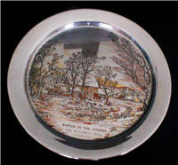 Winter In The Country - The Old Grist Mill' by Currier & Ives Limited Edition Christmas Plate  (Danbury Mint, 1974)