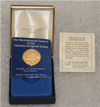 The Bicentennial Council of the 13 Thirteen Original States Official U. S. Gold Medal  (Franklin Mint, 1976)