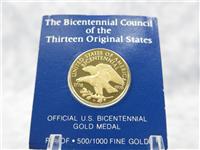 The Bicentennial Council of the 13 Thirteen Original States Official U. S. Gold Medal  (Franklin Mint, 1976)