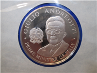 Official Bicentennial Visit Medal Honoring Giulio Andreotti, Premier of Italy (Franklin Mint, 1976)