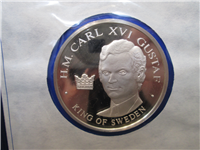 Official Bicentennial Visit Medal Honoring H. M. Carl XVI Gustaf, King of Sweden (Franklin Mint, 1976)