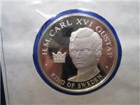 Official Bicentennial Visit Medal Honoring H. M. Carl XVI Gustaf, King of Sweden (Franklin Mint, 1976)
