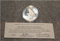 Franklin Mint  Official Bicentennial Commemorative Medal of the Commonwealth of Pennsylvania (Sterling version)