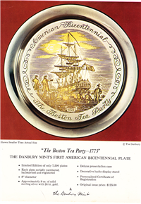 Boston Tea Party - 1773' Bicentennial Commemorative Plate  (Danbury Mint, 1973)