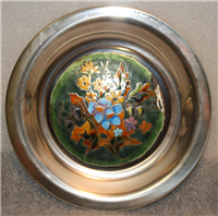 Franklin Mint  The Four Seasons Champleve Plate, Autumn Garland by Rene Restoueix
