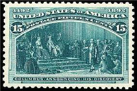 USA 1893 Columbian Exposition Series, 15¢ (Scott 238, Dark Green, Columbus Announcing His Discovery)