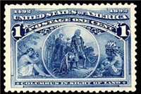 USA 1893 Columbian Exposition Series, 1¢ (Scott 231, Deep Blue, Columbus in Sight of Land)