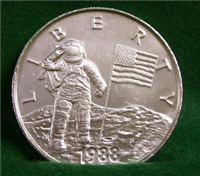 USA 1988 P Young Astronauts Liberty Commemorative Silver Medal, 6 troy ounces version