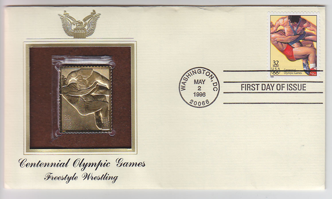 Official 1996 Centennial Olympic Games Gold Stamp and First Day Cover