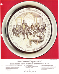 First Continental Congress - 1774 Bicentennial Commemorative Plate  (Danbury Mint, 1974)