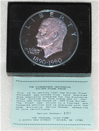 The Eisenhower Centennial Silver Pound Proof    (Federal Coin Fund, 1990)