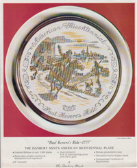 Paul Revere's Ride -1775' Bicentennial Commemorative Plate  (Danbury Mint, 1975)