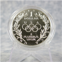Olympic Silver Dollar Proof in Box with COA  (US Mint, 1988)