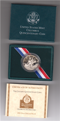 USA   Columbus Centenary Half Dollar Proof in Box with COA   (U.S. Mint, 1992)