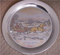 'The Road - Winter' by Currier and Ives Limited Edition Christmas Plate  (Danbury Mint, 1974)
