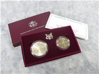 Olympic Coins Two 2 Coin Uncirculated Set with Box & COA (U.S. Mint, 1992)