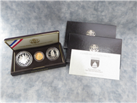 Congressional Gold and Silver Three Coins Proof Set with Box and COA (US Mint, 1989)