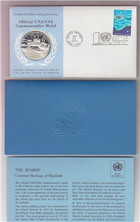 Franklin Mint  United Nations Official 1971 United Nations UNA-USA Commemorative Medal and First Day Cover