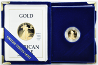 USA 1989-P  United States Mint  1/10th Ounce $5 Gold American Eagle Proof Philadelphia Mint