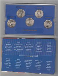 USA Philadelphia Mint Edition 5 Coins 50 State Quarters Proof Set   (US Mint, 2000)