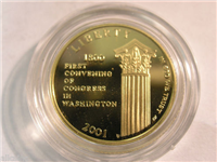 USA 2001 Capitol Visitor Center Gold $5 Five Dollar Proof in US Mint Box with COA