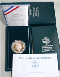 USA  1990-W Eisenhower Centennial Uncirculated Silver $1 Dollar Coin with Box and COA   (US Mint, 1990)