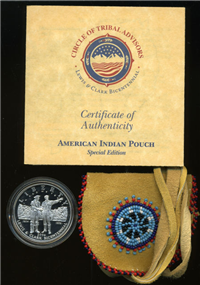 USA 2004 United States Mint Lewis and Clark Bicentennial Commemorative Silver $1 Coin and Pouch Set with Box and COA