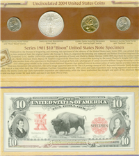 USA 2004 United States Mint Lewis and Clark Bicentennial Commemorative Coin and Currency Set with Box and COA