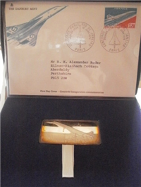Danbury Mint Concorde Inaugural Flight Commemorative Ingot and First Day Cover