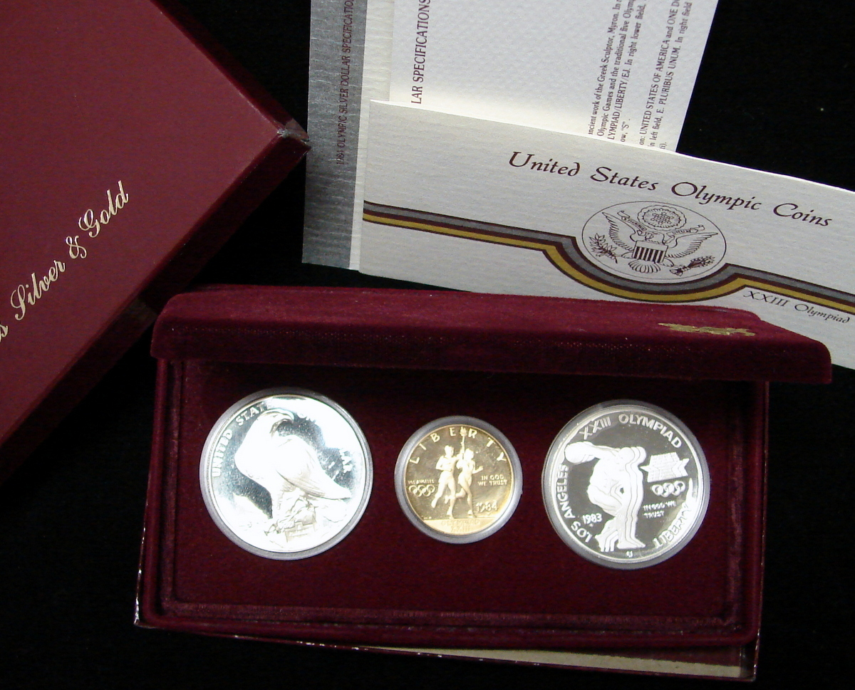 Olympic 3 Coin Proof Set 10 Gold 1 Olympic Dollars U S