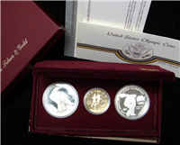 Olympic 3 Coin Proof Set $10 Gold, $1 Olympic Dollars  (U.S. Mint, 1984)
