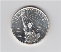 Libert Mint 1986 One Ounce Pure Silver 999+ Medal