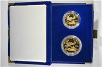USA 1987 Gold $50 1 Ounce Eagle $25 1/2 Ounce 2 Coin Set in Box with COA