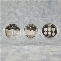 U.S. Veterans 3 Coin Silver Dollar Proof Set with Box and COA  (US Mint, 1994)