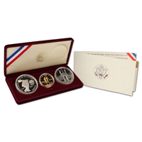 3 Coin Olympic Proof Set with $10 Gold Coin  (US Mint, 1983 1984)
