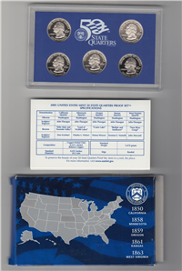 USA  5 Coins 50 State Quarters Proof Set  (U.S. Mint, 2005)
