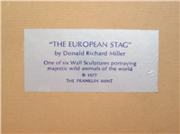 THE EUROPEAN STAG by Donald Richard Miller Silver Wall Sculpture  (Franklin Mint, 1977)