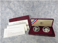 Olympic 90% Silver Dollar Proof 2-Coin Set in Box with COA (US Mint, 1983-1984)